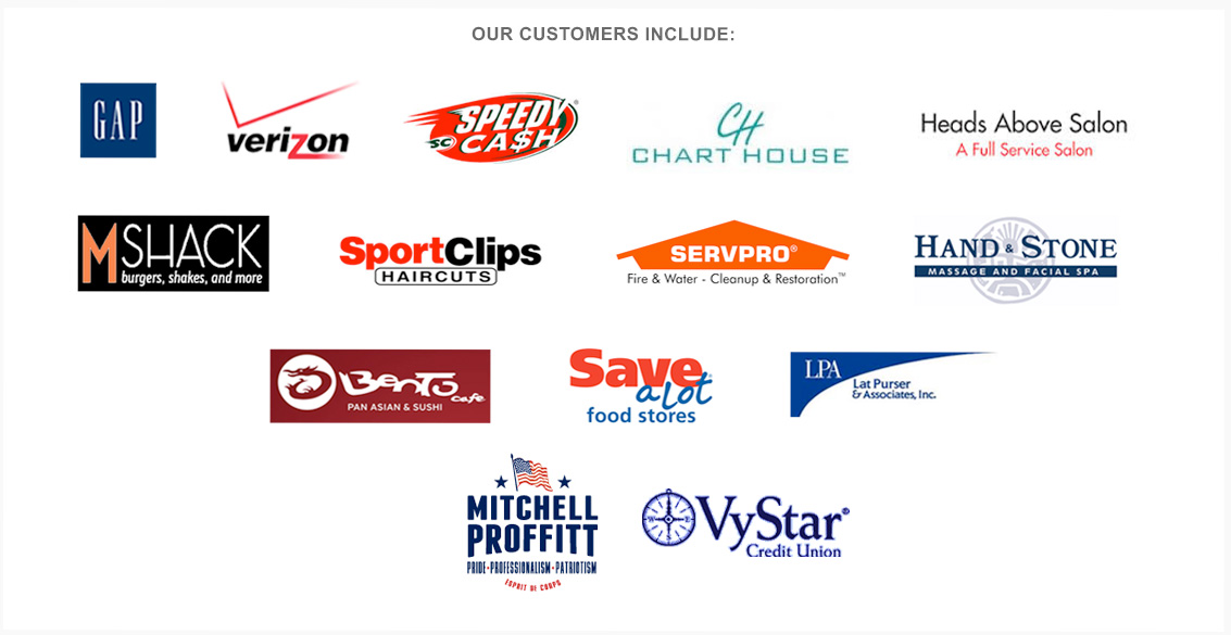 A list of some of our many clients, which include
